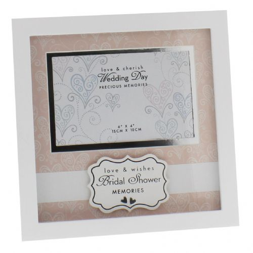 Bridal Shower Gift - White and Pink Love and Cherish Photo Frame 6 x 4 - Bridal Shower Presents and Memories